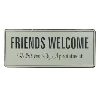 Placa Decorativa em Metal Friends Welcome