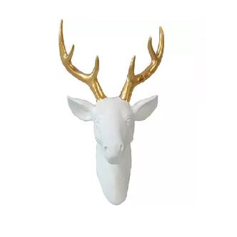 Escultura Parede Cerâmica Deer's Head Gold Horns 29 X 22 X 4cm