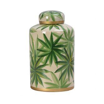 Pote Decorativo Porcelana Folhas G