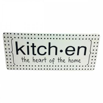 Placa Decorativa em Metal Kitchen - The Heart of the Home