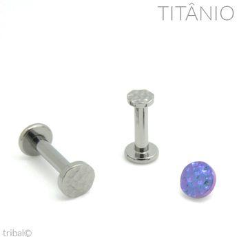 Labret Disco Martelado Titânio