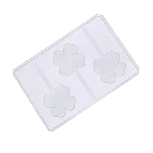 Forma em PVC - Pirulito Trevo (5 uni) - Cristal Formas