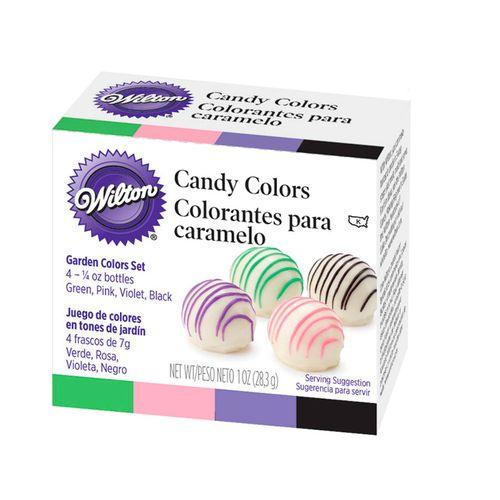 Kit Corante para Chocolate (Rosa, Verde, Violeta, Preto) - Wilton