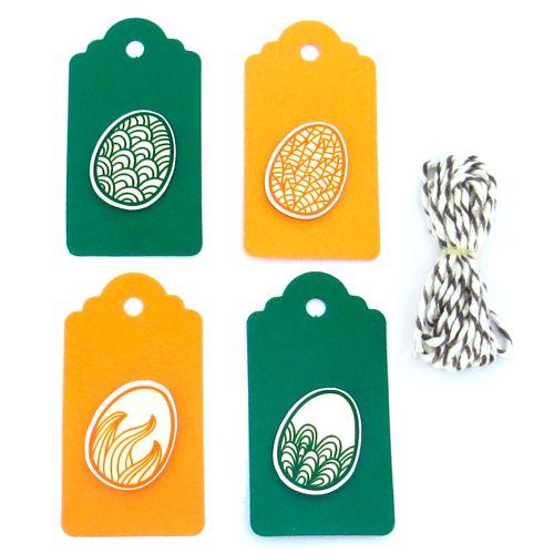 Tags Ovo Verde e Laranja (6uni) - Papel Confeito