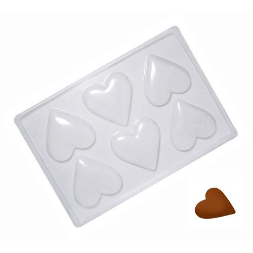 Forma de Chocolate Acetato Coração Médio (5 uni) - Cristal Formas