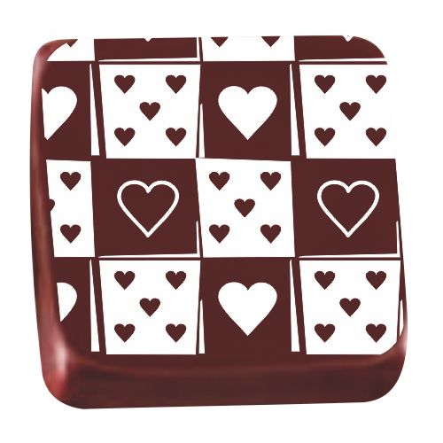 Transfer para Chocolate (40 x 30cm) - Coração Patch Branco