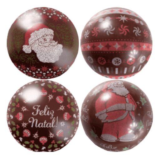 Blister Bola de Natal de Chocolate 7cm (8uni) - Papai Noel