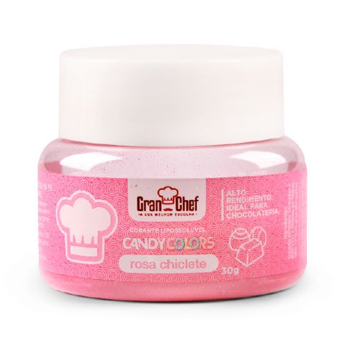 Corante Lipossolúvel em Pó para Chocolate Rosa Chiclete Candy Colors (30g) - Gran Chef