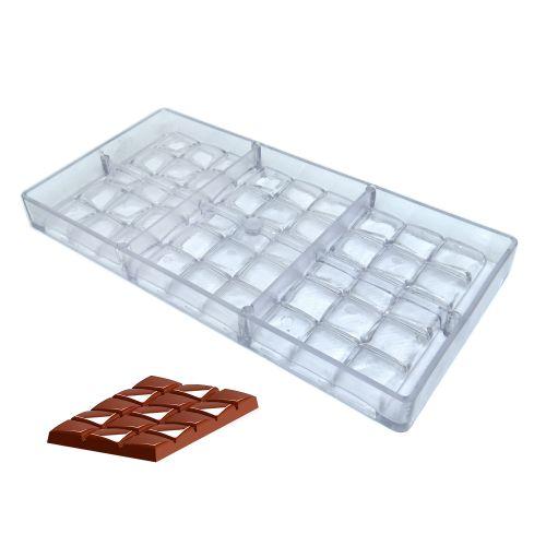 Forma de Chocolate em Policarbonato Tablete/Barra 80g - Gramado Injetados