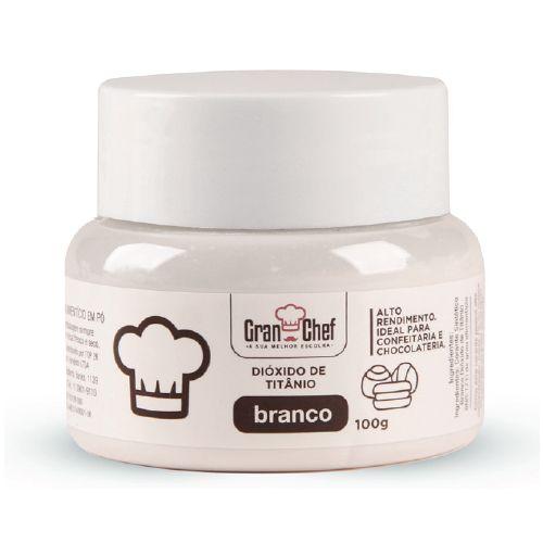 Corante em Pó Branco Dióxido de Titânio 100g Hidro/Lipossolúvel - Gran Chef