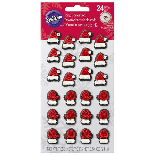 Confeito em Açúcar Gorros e Luvas de Natal (24uni) - Wilton