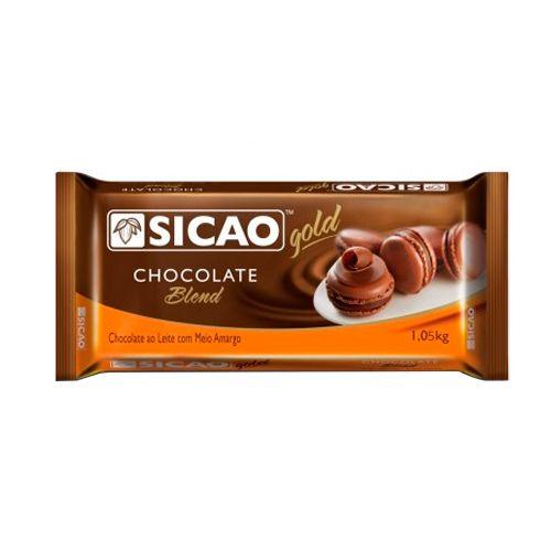 Chocolate Sicao Gold Blend ao Leite com Meio Amargo Barra (1,05kg) - Sico