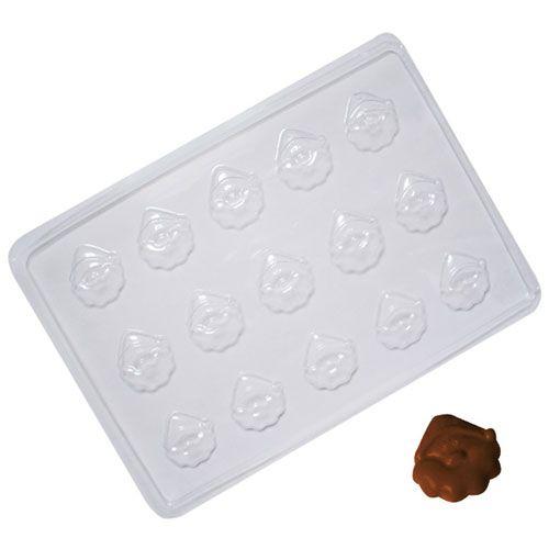 Forma para Chocolate em PVC - Rosto Papai Noel (5 uni)