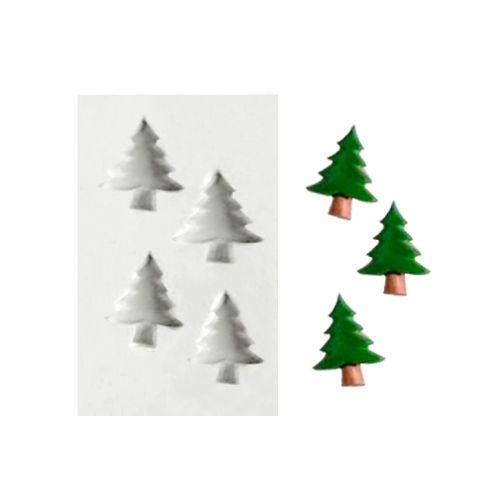 Molde de Silicone 4 Pinheiros de Natal - Gummies