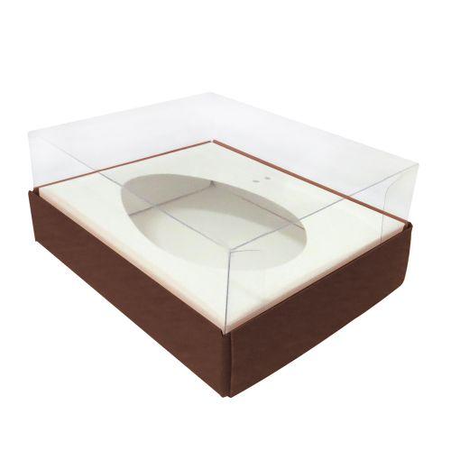 Caixa Ovo de Colher 250g Marrom (5uni) - ArtCrystal