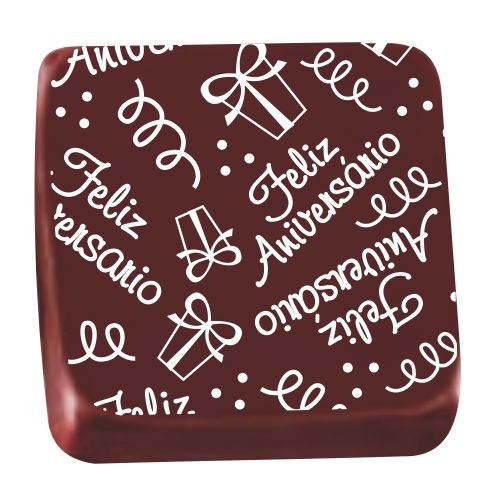 Transfer para Chocolate (40 x 30cm) - Aniversário Festa Branco