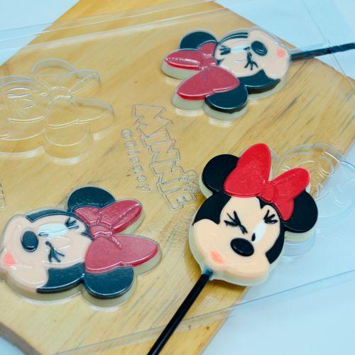 Forma de Chocolate Acetato Pirulito Rosto Minnie (10 uni) Disney - BWB