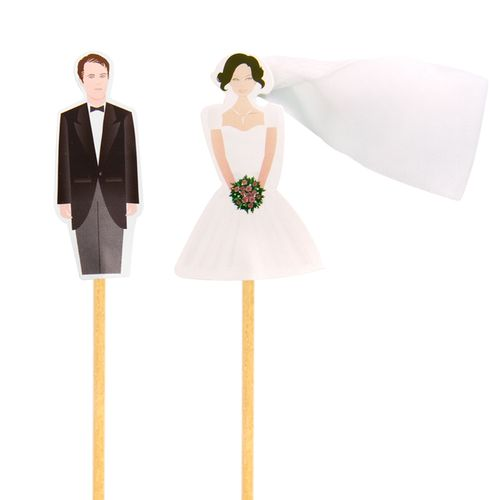 Enfeite Casal de Noivos (12uni) - Papel Confeito