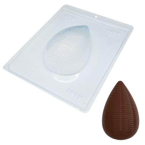 Forma de Chocolate Ovo de Páscoa Acetato e Silicone Textura Listras 250g - BWB