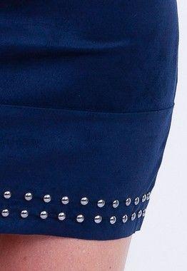 Saia Azul Detalhe Bordado