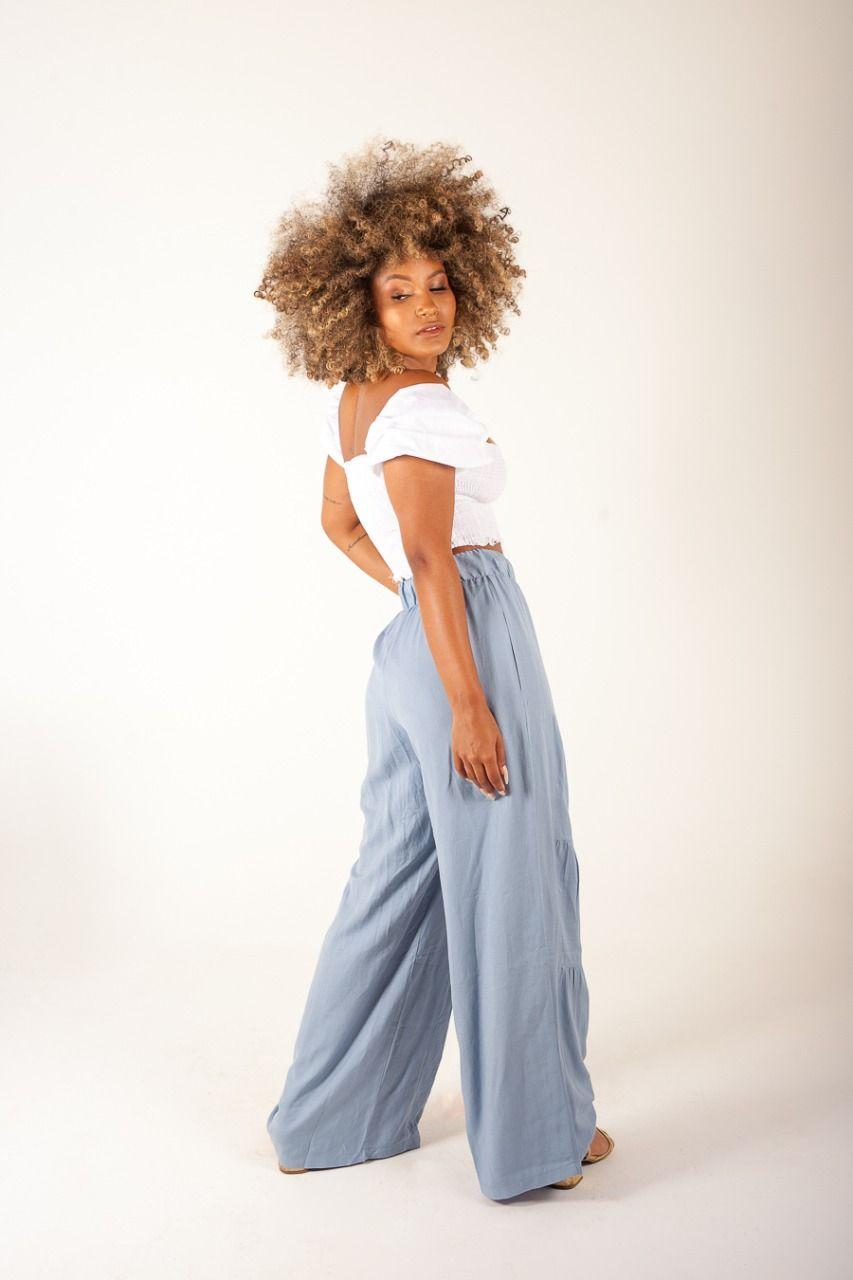 Calça Pantalona Azul Claro
