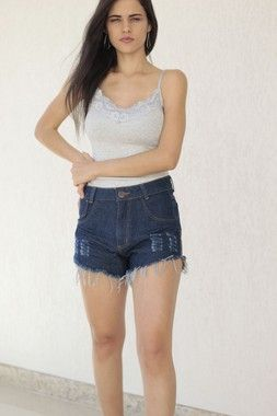 Short Jeans Destroyed Escuro