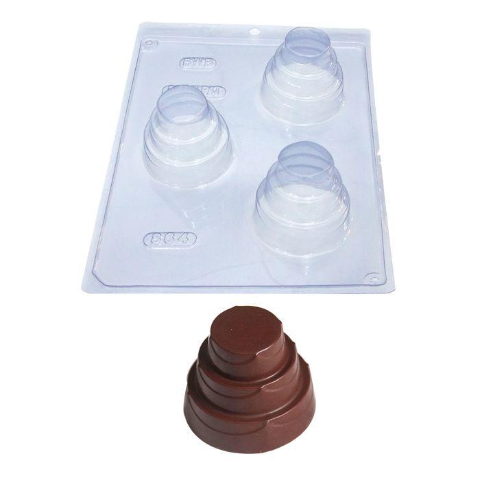 Forma de Chocolate Acetato com Silicone Bolo 3 Andares Médio - BWB