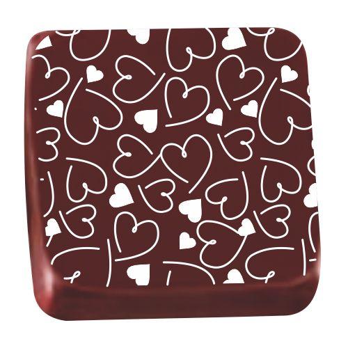 Transfer para Chocolate (40 x 30cm) - Coração Estilo Branco