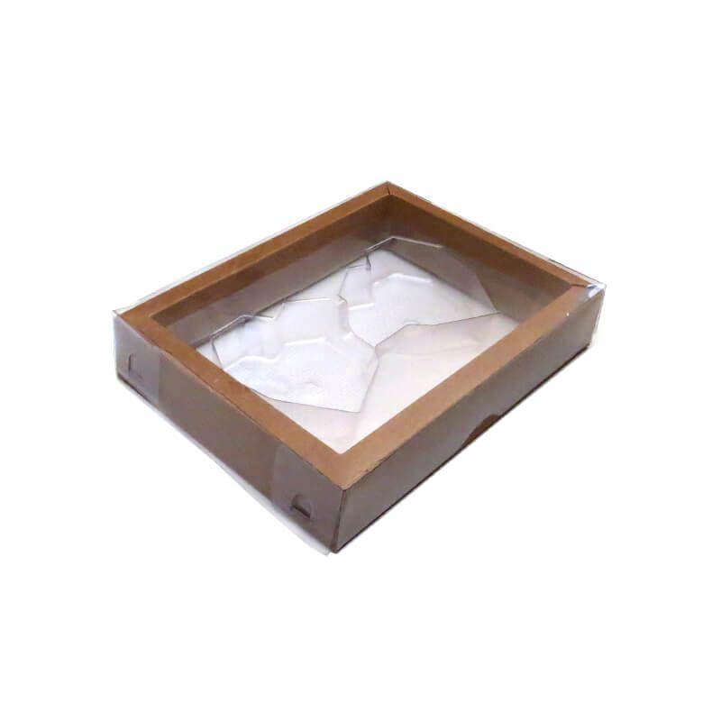 Caixa Coração Diamantado Plano em Barra Pequeno 02 Cavidades Kraft (5uni) - ArtCrystal