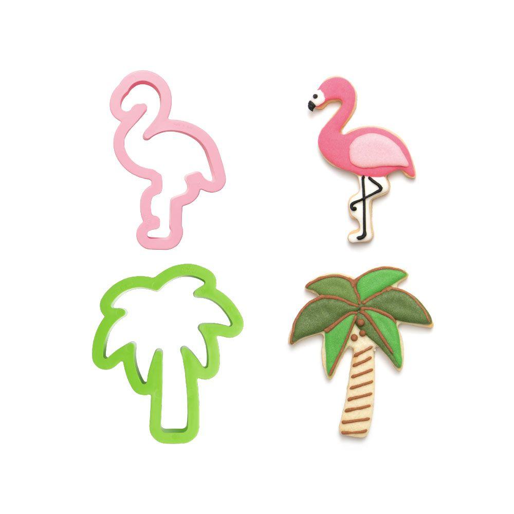 Kit Cortadores Flamingo e Palmeira (2pcs) - Decora