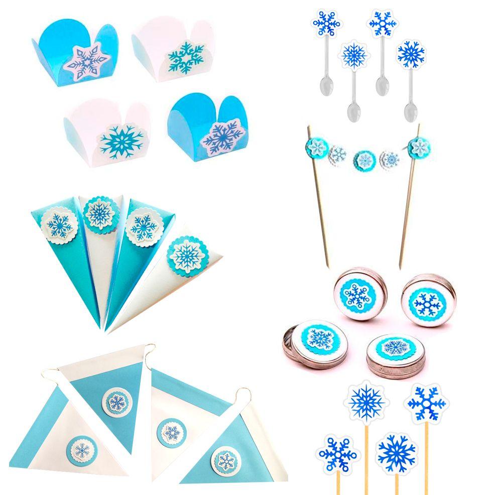 Kit Festa Flocos de Neve (8 Pessoas) - Papel Confeito