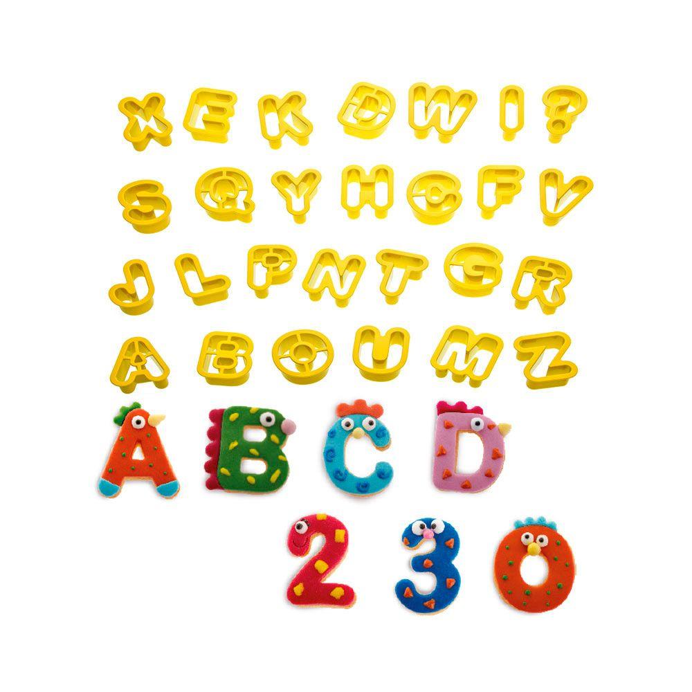Kit Mini Cortadores Letras do Alfabeto e Números (36pcs) - Decora