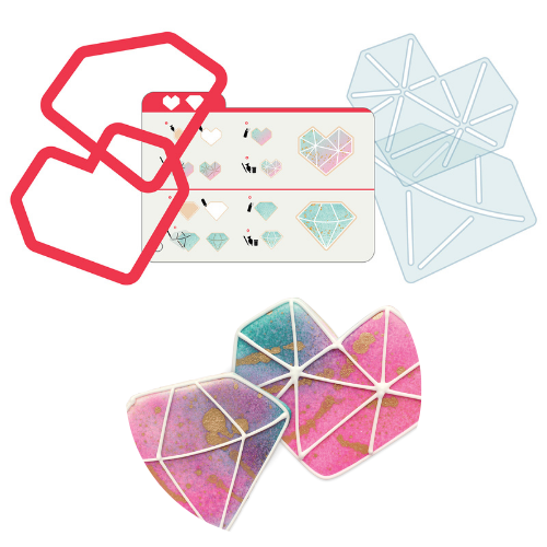 Kit de Cortadores e Stencil Corações Geométricos (5pcs) - Sweet Sugarbelle