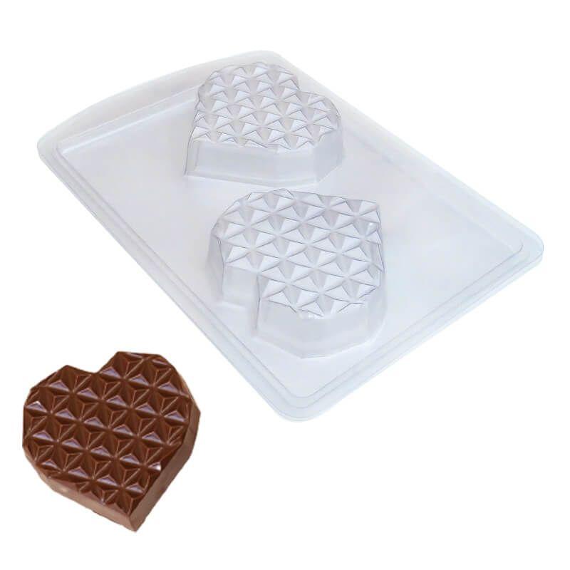 Forma de Chocolate em Acetato com Silicone Coração Diamantado Plano em Barra Médio - ArtCrystal