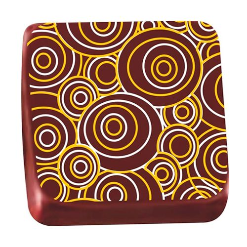 Transfer para Chocolate (40 x 30cm) - Circulares Amarelo/Branco