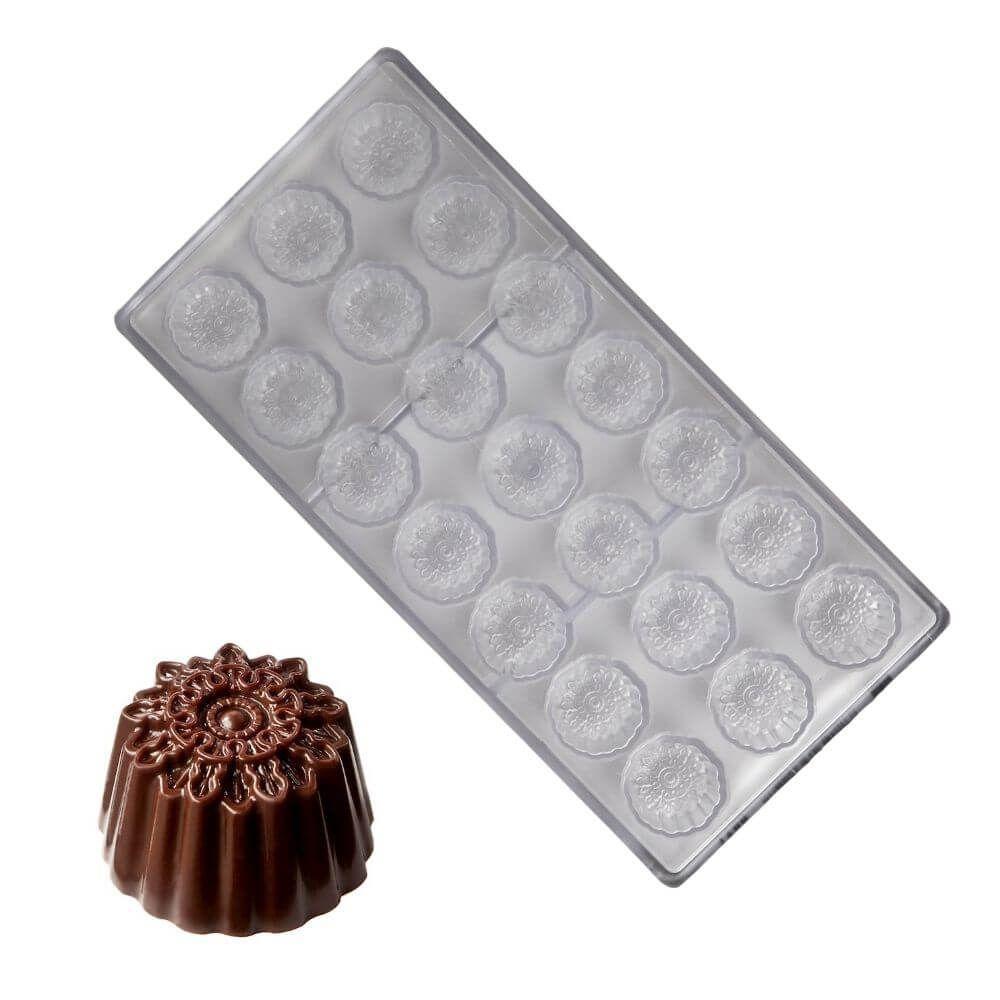 Forma de Chocolate em Policarbonato Bombom Ornamento Redondo (12g) - Chocolate World