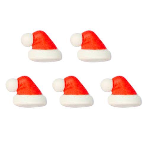 Enfeite de Natal em Açúcar Gorro de Papai Noel (5uni) - Jady Confeitos