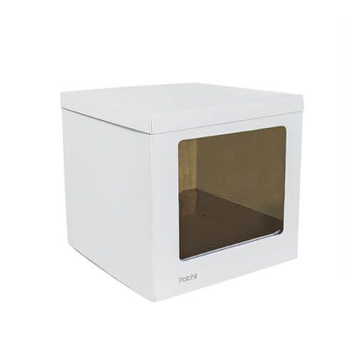 Caixa para Bolo com Visor Lateral Branca (26 x 26 x 30cm) - Patchii