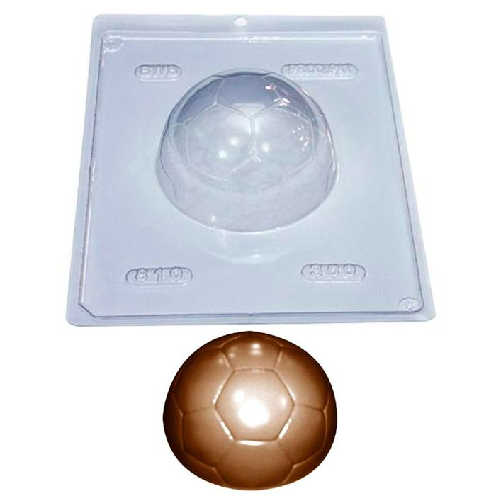 Forma de Chocolate Acetato com Silicone Bola Futebol 300g - BWB