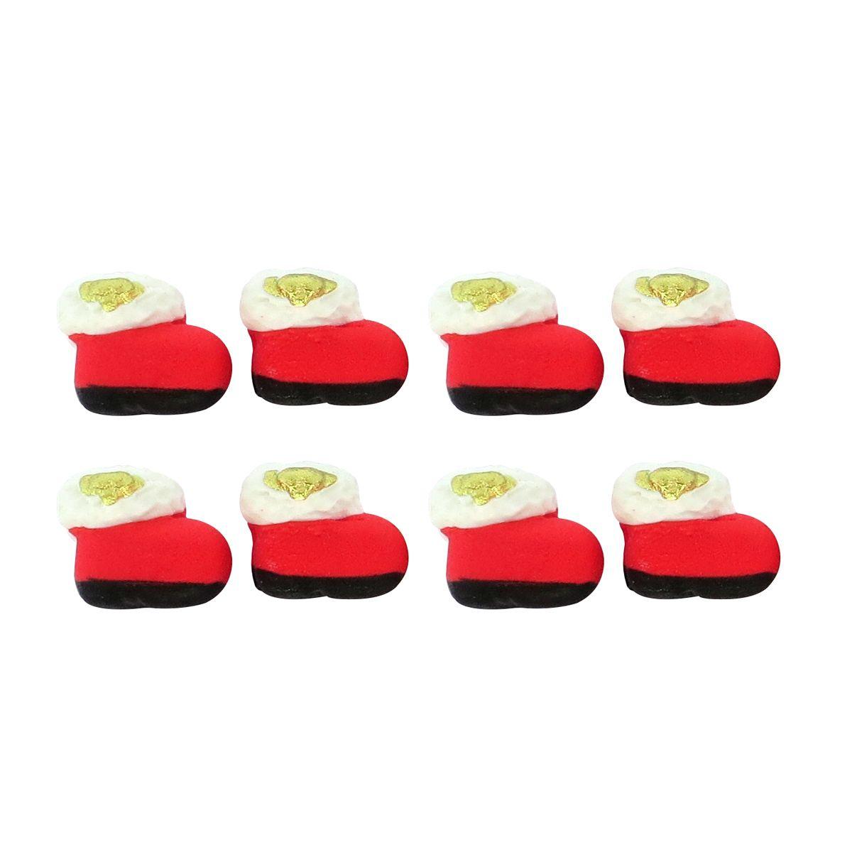 Enfeite de Natal em Açúcar Botinha de Papai Noel (8uni) - Jady Confeitos