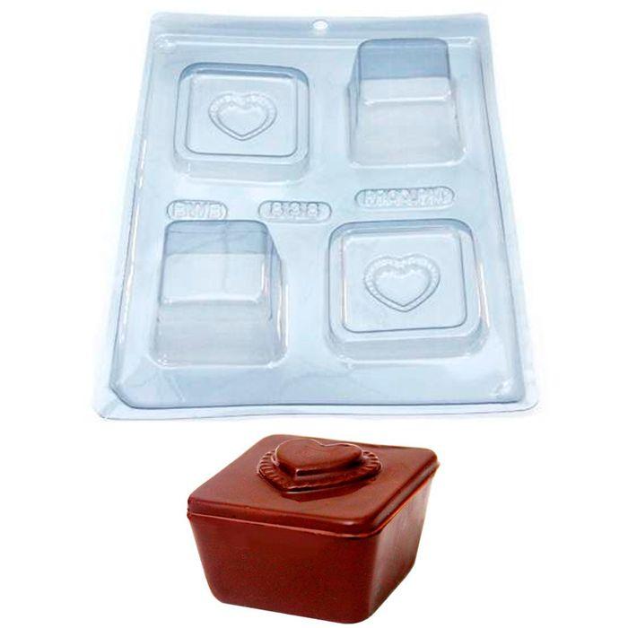 Forma de Chocolate Acetato com Silicone Caixa com Coração - BWB