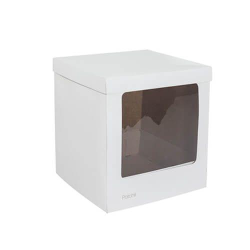 Caixa para Bolo com Visor Lateral Branca (23 x 23 x 25cm) - Patchii
