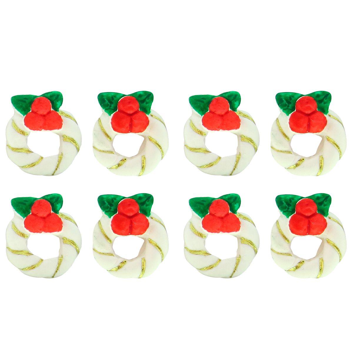 Enfeite de Natal em Açúcar Mini Guirlanda Branca (8uni) - Jady Confeitos