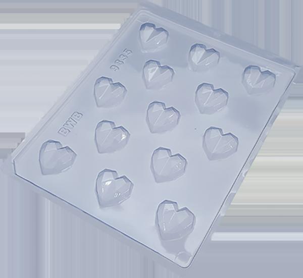 Forma de Chocolate em Acetato Bombom Coração Lapidado (10uni) - BWB