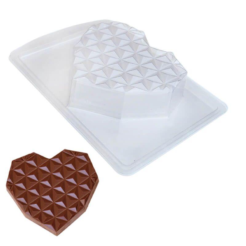 Forma de Chocolate em Acetato com Silicone Coração Diamantado Plano em Barra Grande - ArtCrystal