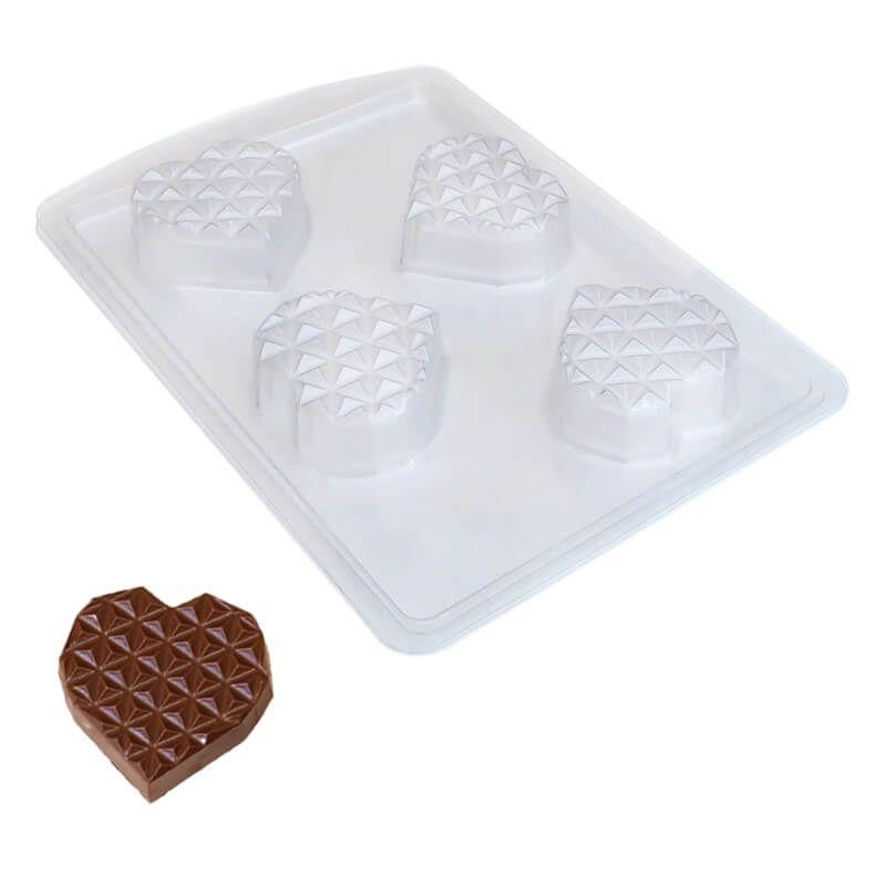 Forma de Chocolate em Acetato com Silicone Coração Diamantado Plano em Barra Pequeno - ArtCrystal