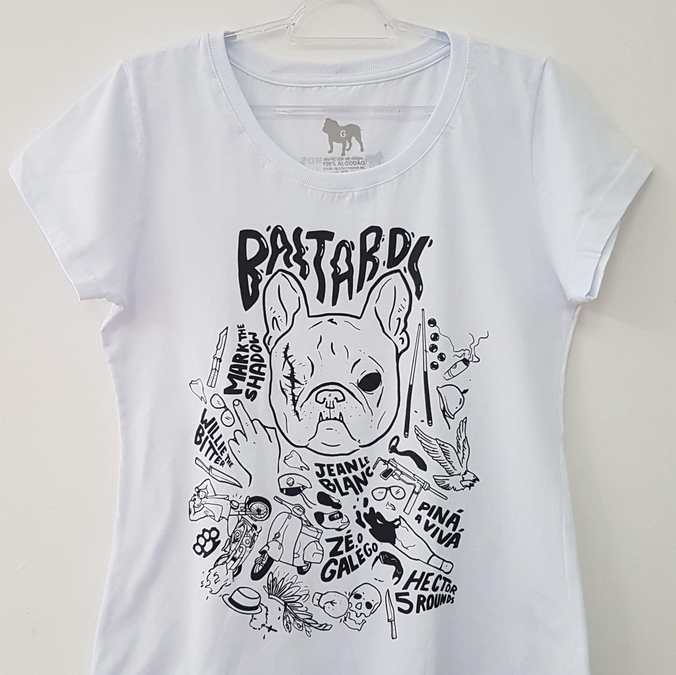 Camiseta Feminina - Estampa Bastards - Branca