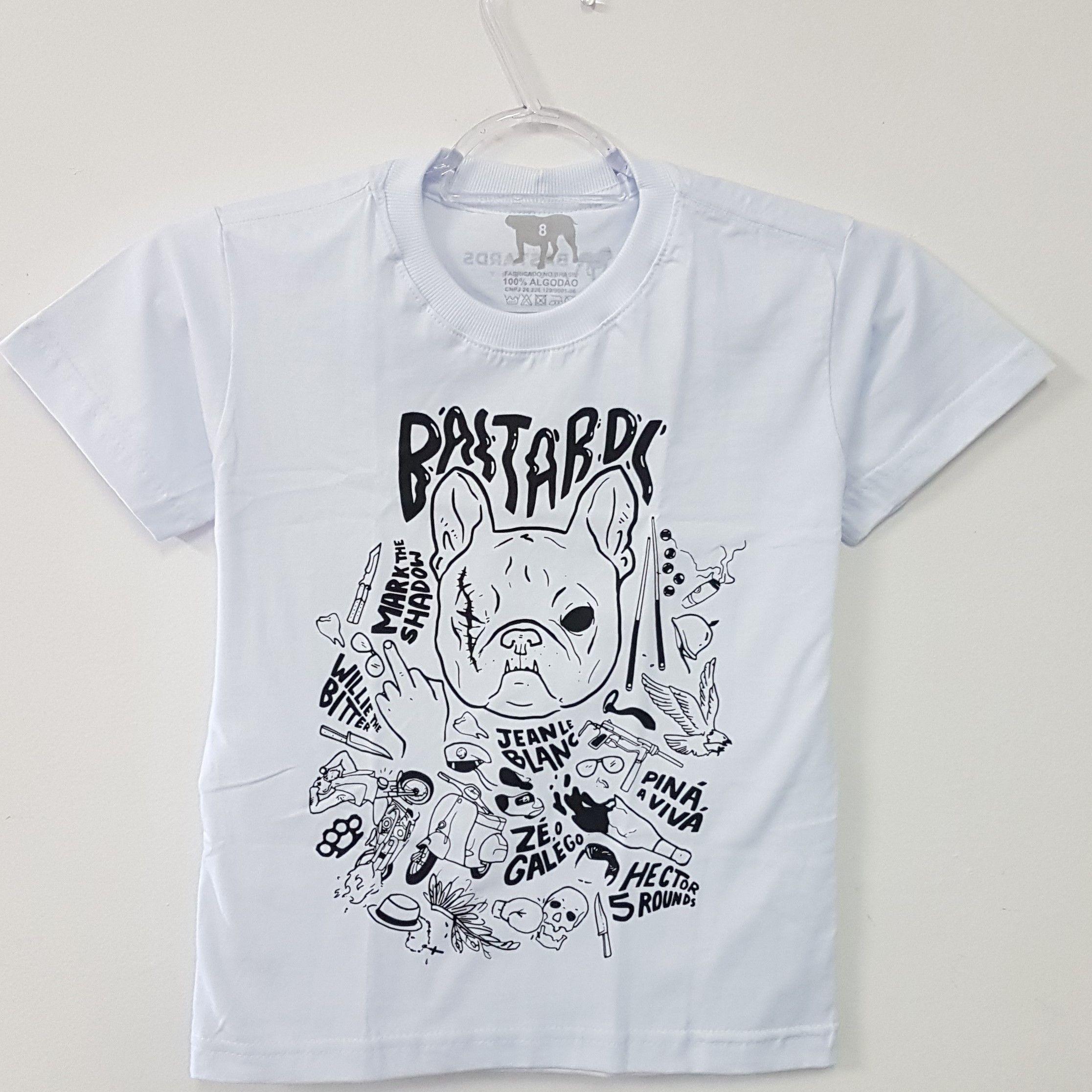 Camiseta Infantil - Dog Bastards - Branca