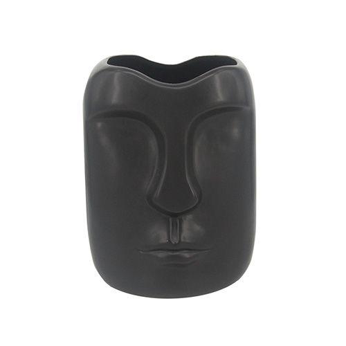 Vaso de Cerâmica Rosto Preto