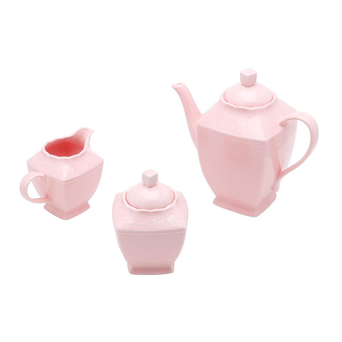 Conjunto Café Porcelana Heart Rosa - 3 Peças
